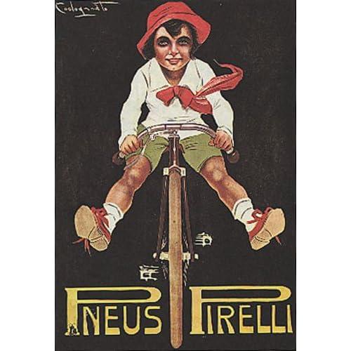 BOY RIDING A BICYCLE BIKE CYCLES PNEUS TIRES 14 X 18 VINTAGE POSTER
