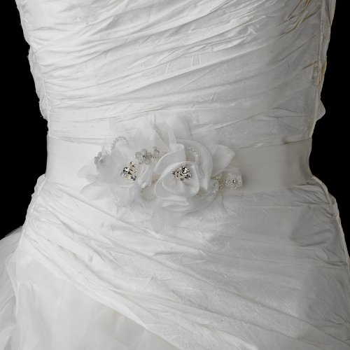 Beautiful Crystal Flower Accented Wedding Bridal Sash Belt - Ivory