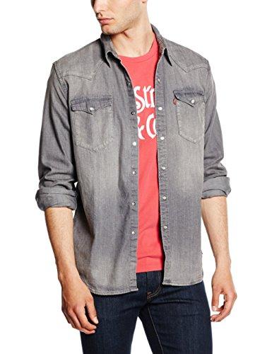 Levi's Barstow Western, Camicia Uomo, Grigio (P8106 Gray Medium), Large