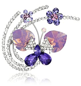 Fluid Butterfly Swarovski Elements Crystal Brooch Pin (Purple) 4016801