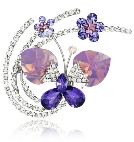 Fluid Butterfly Austrian Crystal Brooch Pin (Purple)