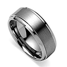 buy King Will 8Mm High Polish Edge/ Matte Finished Center Men'S Tungsten Ring Wedding Band(8)