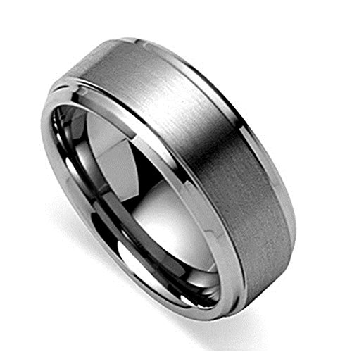 King Will 8mm Polished Beveled Edge/ Matte Brushed Finish Center Men's Tungsten Carbide Ring Wedding Band(11)