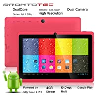 "ProntoTec 7"" Android 4.2 Tablet PC, Cortex A8 1.2 Ghz Dual Core Processor,512MB / 4GB,Dual Camera,HDMI,G-Sensor (Pink) by ProntoTec"