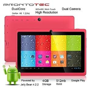 """ProntoTec 7"""" Android 4.2 Tablet PC, Cortex A8 1.2 Ghz Dual Core Processor,512MB / 4GB,Dual Camera,HDMI,G-Sensor (Pink)"""