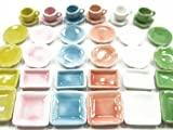 36 Plates Coffee Tea Set Doll house Miniature Ceramic Mixed Color #S CF00 - 1379