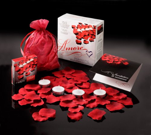 Amore Romantic Gift Set 150 Scented Floating Silk Rose Petals, 4 Battery Operated Tealights + 1 Invitation Card