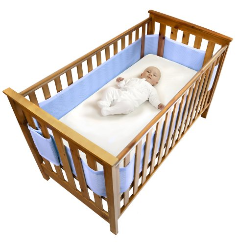 Safe Dreams - Paracolpi per lettino, 4 lati, superficie 100% cotone organico, Blu (Blue)