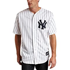 CC Sabathia New York Yankees Replica Home Jersey, White Navy Pinstripe by Majestic
