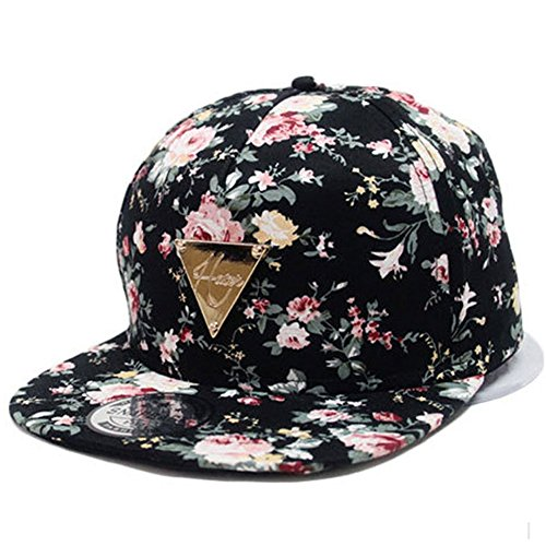 Yonala Fashion Floral Snapback Hip-Hop Hat Flat Peaked Baseball Cap for Four Seasons (Peaked Cap Women compare prices)