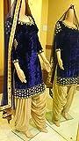 RAMAPIR CRATION BLUE CREAM DRESS MATERIAL