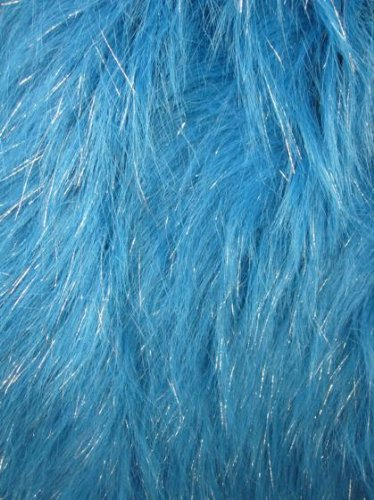 Shiny/Sparkle Shaggy Faux/Fake Fur Fabric-Turquoise-Long Pile 60