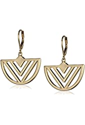 "Kensie ""Cherry Blossom Girl"" Gold-Plated Leverback Crescent Chevron Drop Earrings"