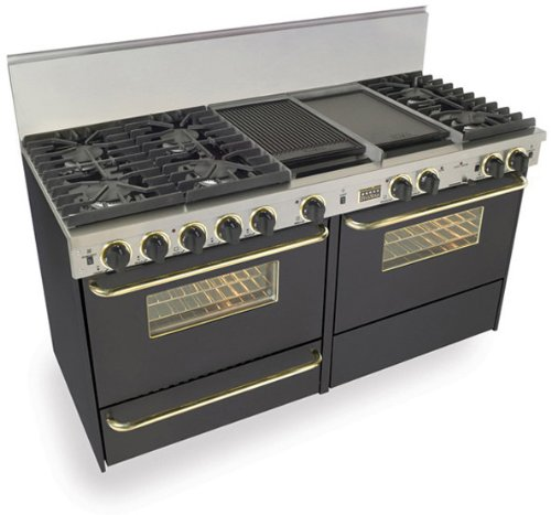 "60"" Pro-Style Dual-Fuel Natural Gas Range with 6 Sealed Ultra High-Low Burners Two 3.69 cu. ft. Convection Oven Self-Clean and 2 Double Sided Griddle/Grill Black with Brass"