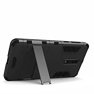 Nokia 8 Case [Built-in Kickstand] [Shock Absorbing] Detachable 2 in 1 Hybrid Heavy Duty Armor Dual Layer Rugged Protective Hard Back Cover Case for Nokia 8 TA-1004 TA-1012 TA-1052 5.3 (Color: Back Case (Black))
