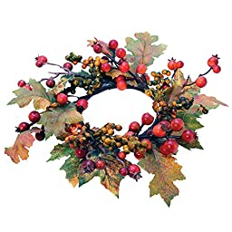 A Cheerful Giver Foliage Candle Ring with Berry