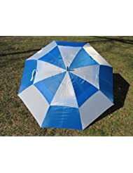 "Royal Blue & White Double Canopy Wind Buster 60"" Golf Umbrella"