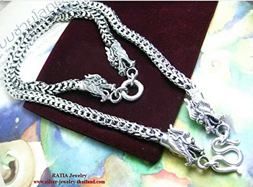 71g 20″ Plain Silver Necklace 4 Dragon Heads Silver 925 Jewelry Thailand [SJT_PNE2204-1]