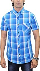 AA' Southbay Men's Multi Blue Checks 100% Premium Cotton Half Sleeve Casual Shirt