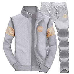 Sghya Mens Zip Up Hoodie Jogger Tracksuit Top Bottom Jacket Pants Set