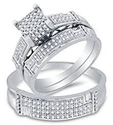 buy Sizes - L = 8, M = 10 - 10K White Gold Round Diamond Trio Three Ring Set - Matching His And Hers Engagement Ring & Wedding Bands - Micro Pave Square Princess Center Setting Shape (1/2 Cttw.) - Please Use Drop Down Menu To Select Your Desired Ring Sizes