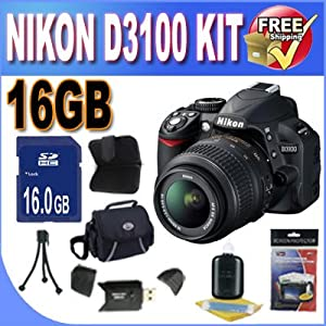 Nikon D3100 14.2MP Digital SLR Camera with 18-55mm f/3.5-5.6 AF-S DX VR Nikkor Zoom Lens 16GB Kit