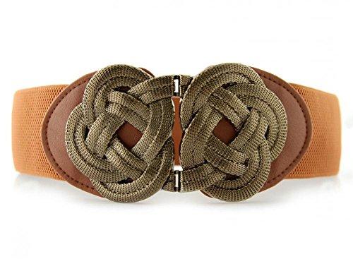Retro Wide Mental Interlock Buckle Womens Elastic Waist Belt Cinch