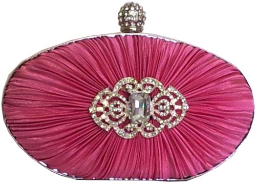 Pink Satin Rouched Crystal Oval Evening Bag