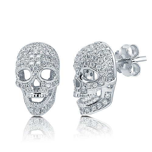 Cubic Zirconia CZ 925 Sterling Silver Cool 3D Skull Head Stud Earrings - Nickel Free