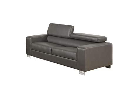 Furniture of America Bloomsbury Bonded Leather Match Sofa, Gray