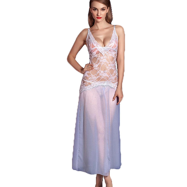 Deercon Frauen-transparente Spitze-W?sche-langes Kleid-Nachtw?sche Babydoll-Set (wei?) jetzt bestellen