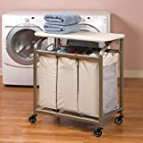 Seville Classics 3-Bag Laundry Sorter with Folding Table