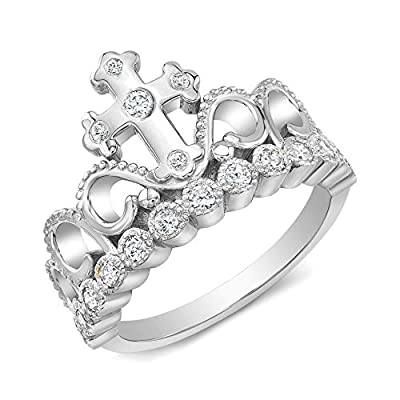 Cross Tiara Ring with CZ (Rhodium-plated Sterling Silver)