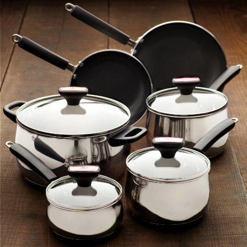 Paula deen signature stainless steel ii 12 piece cookware for Kitchen set 008 26