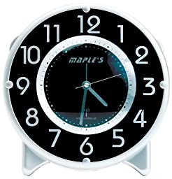 Maple\'s Streamline Table Alarm Clock, Atomic Time Sync, Black Face