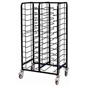 EAIS Black Material Mild Steel EAIS Powder Coated Enamel Clearing Trolley 24 Shelves Max weight capacity 240kg Dimensions 1700(h) x 930(w) x 640(d)mm Capacity: 24 trays