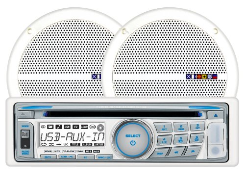 Dual MXCP66 In-Dash Marine AM/FM/CD/MP3 Receiver 6 1/2-Inch Speaker Combo Pack - White