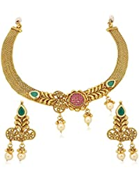 Vk Jewels Wedding Collection Gold Brass Alloy Necklace Set For Women Vknks1234G