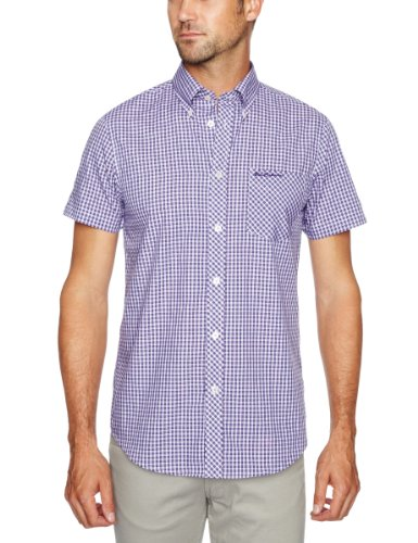 Ben Sherman Crane Short Sleeve Regular Fit Men's Shirt Petunia Small