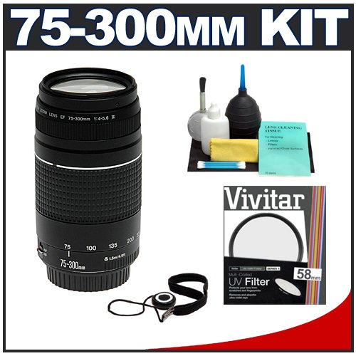 Canon EF 75-300mm f/4-5.6 III Lens + 58mm UV Glass Filter + CapKeeper Lens Cap Strap + Cleaning Kit for Rebel XS, XSi, T1i, T2i, T3, T3i EOS 40D, 50D, 60D, 7D Digital SLR Cameras