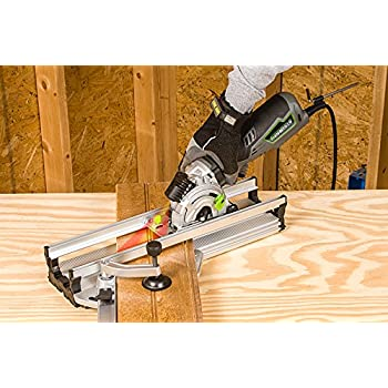 "Genesis GPCS535CK 5.8 Amp, 3-1/2"" Control Grip Plunge Compact Circular Saw Kit with Laser,Miter Base, 3 assorted blades, Vacuum Adapter Hose, Rip Guide and Carrying bag"
