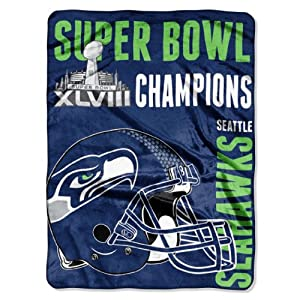 NFL Seattle Seahawks 2014 Super Bowl XLVIII Champs 60-Inch by 80-Inch CUT Design... by Northwest