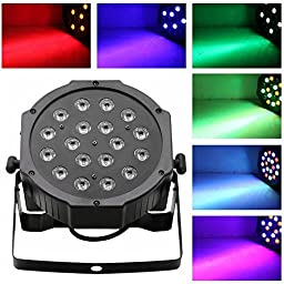 SORCO 1Pcs 18*3W LED Flat Par Stage Lights Lamp with US Plug for Club Disco KTV Garden Wedding