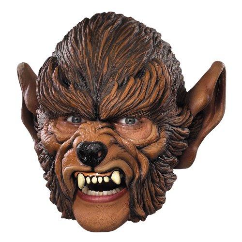 [Disguise Men's Werewolf Chin-Strap Mask, Brown/Beige, Adult] (Werewolf Adult Vinyl Chin Strap Mask)