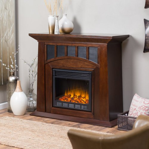 Myron Electric Fireplace - Espresso with Black Insert Panels photo B00FODGH1E.jpg
