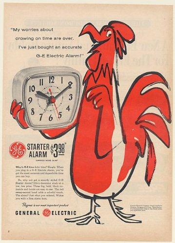 1954 Ge General Electric Starter Alarm Clock Red Rooster Art Print Ad (Memorabilia) (55060)