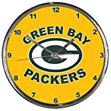 Green Bay Packers 2nd Design Gold Chrome Clock