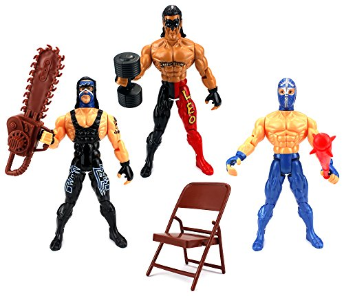 Velocity Toys XTR Masters of the Ring Wrestling Toy Figure Play Set w/ 3 Toy Figures, Accessories