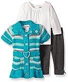 Little Lass Baby-Girls 3 PC Sweater Set Belted Striped Knit, Winter Green, 6/9 Months