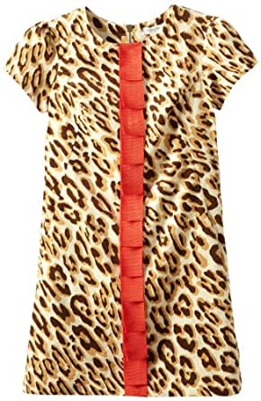 kc parker Big Girls'  Corduroy Printed Dress with Pleated Ribbon, Leopard Print, 12